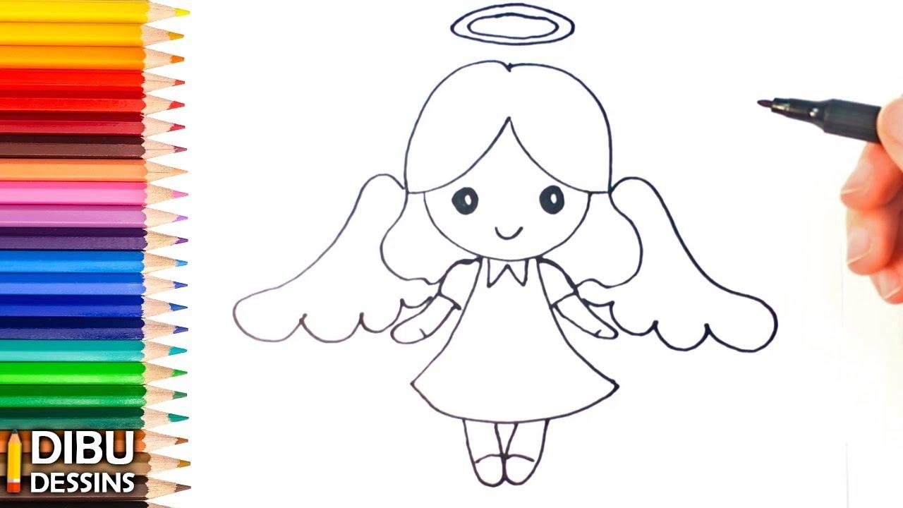 Comment dessiner un ange dessin de ange youtube - Dessin d ange gardien ...