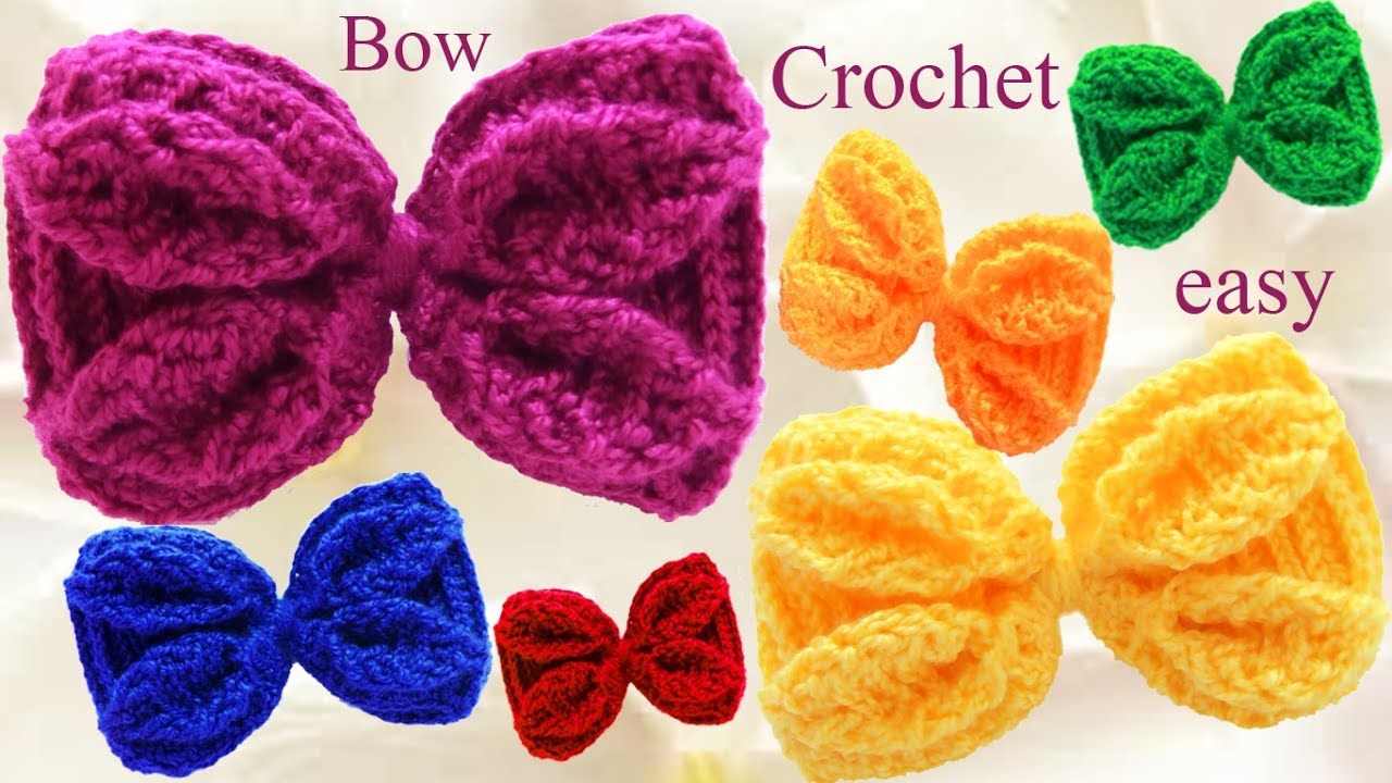 ed69a88f5a56 Lazos y moños con hojas en relieve tejidos a Ganchillo Crochet