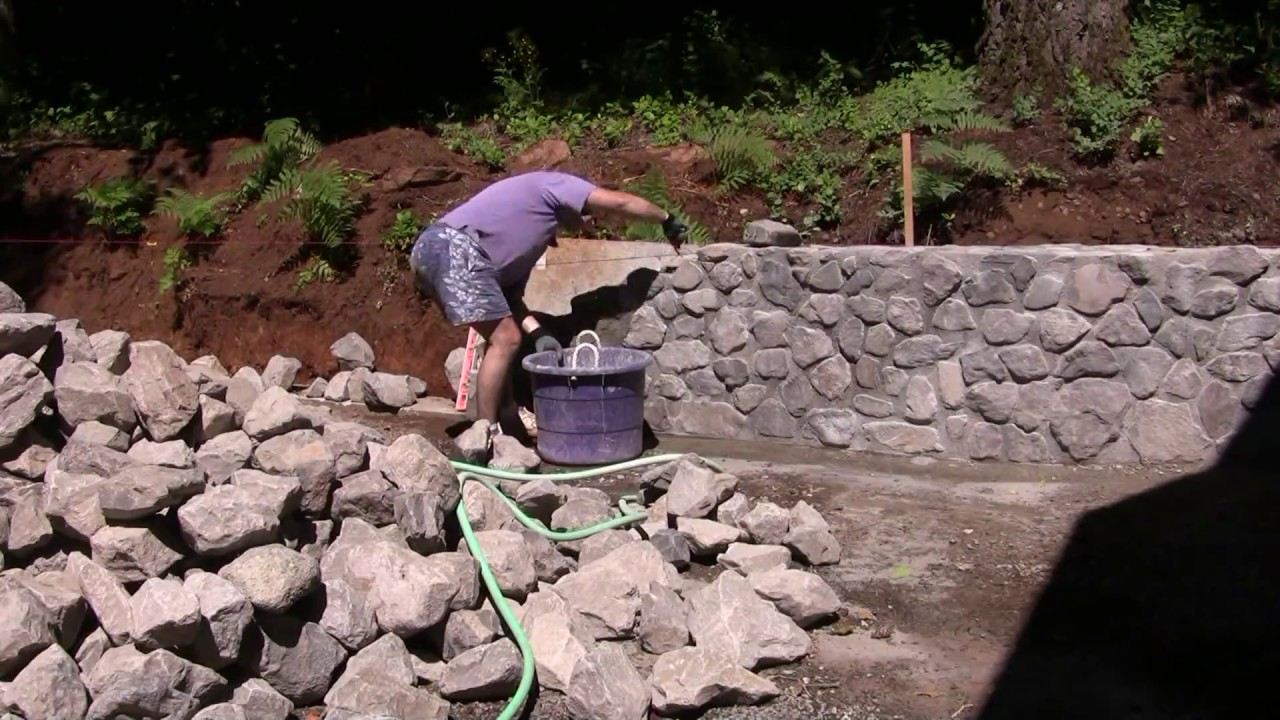 Building Stone Retaining Wall Youtube