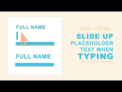 Move Placeholder Above The Input On Focus Using CSS | Quick Tutorial