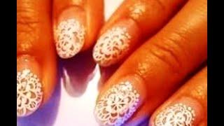 Как нарисовать кружево на ногтях.
