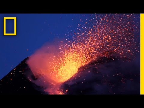Amazing Volcano Footage: See Smoke and Lava Erupt From Mount Etna | National Geographic