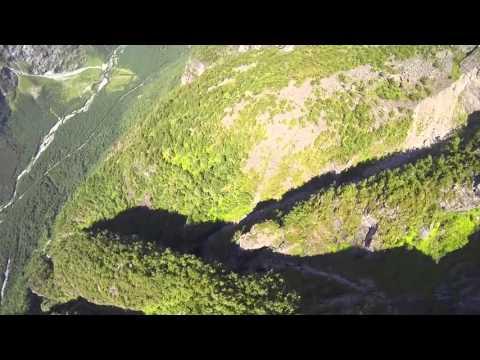 POV wingsuit flying over Jostedal Glacier