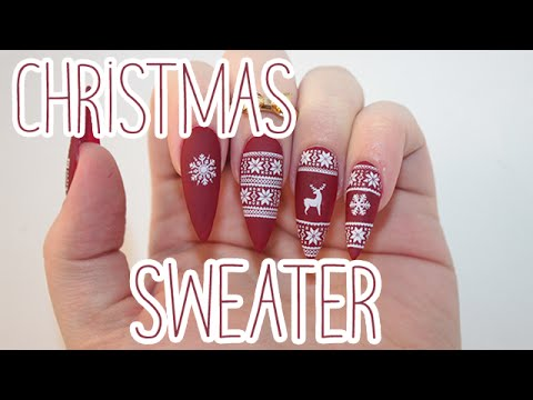How To ️matte Christmas Sweater Acrylic Nails Youtube
