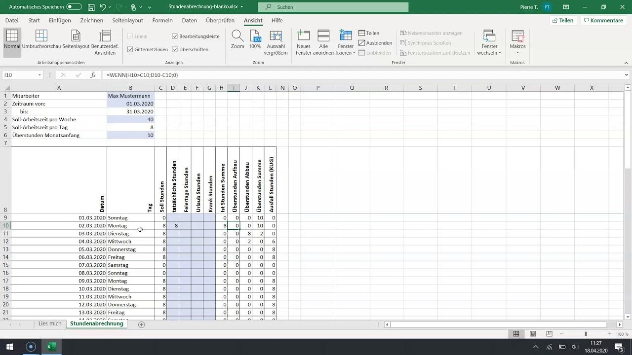 Excel Vorlage Stundenabrechnung Arbeitszeiterfassung Youtube