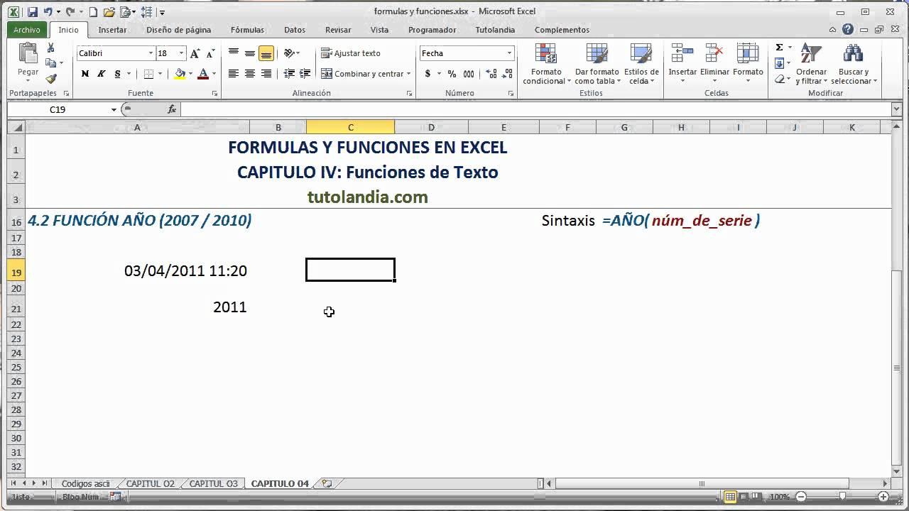 200.20 Función Año Fórmulas y Funciones en Excel