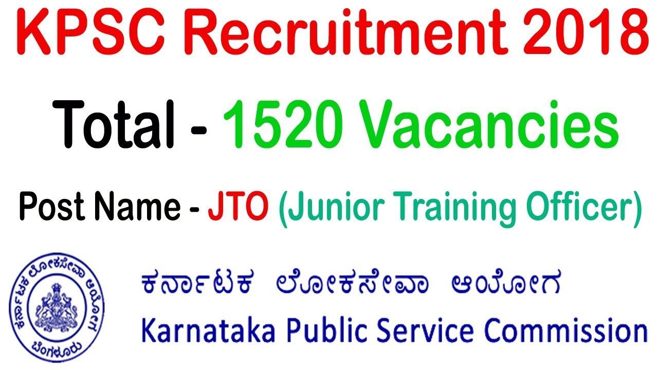 KPSC Recruitment 2018 www kpsc kar nic in JTO Notification 2018