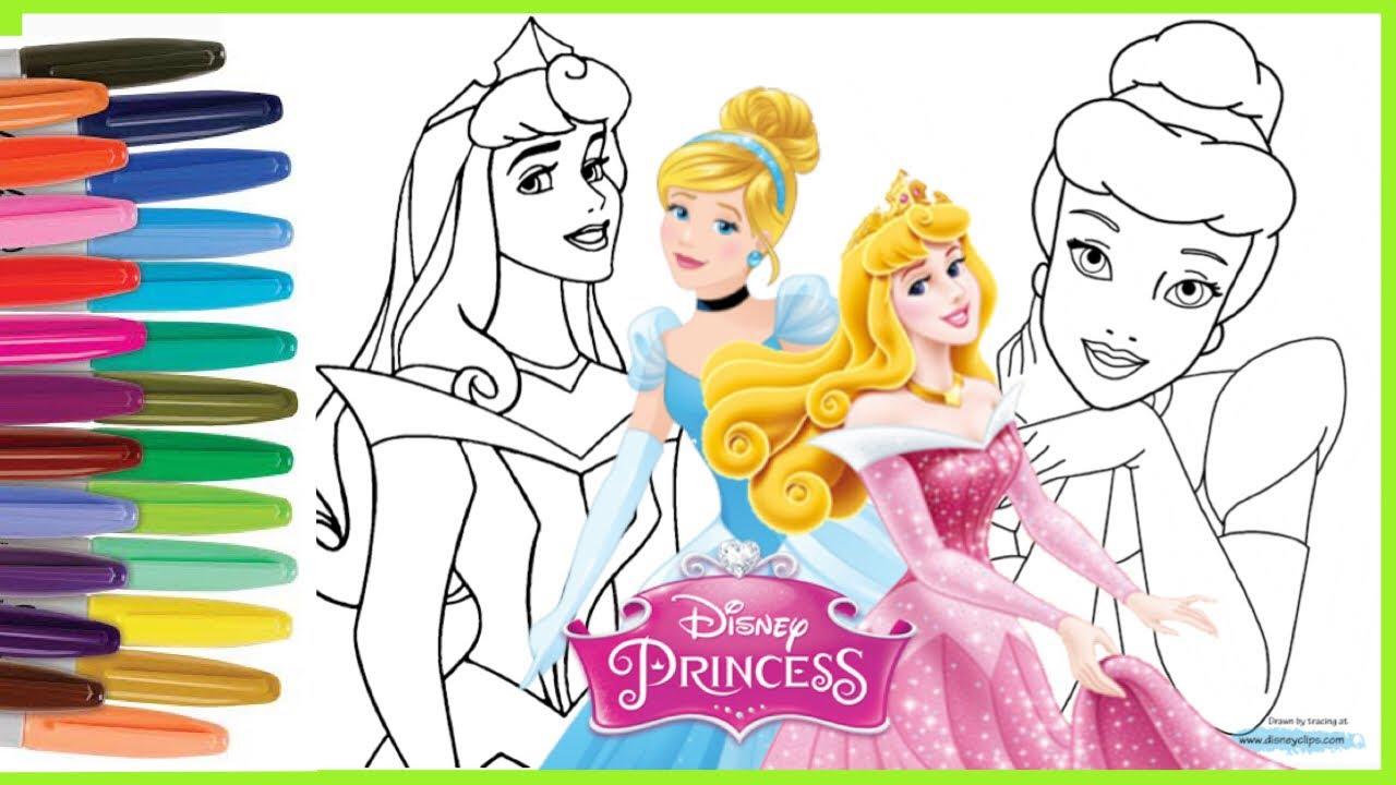 Mewarnai Gambar Putri Cinderella Aurora Coloring Disney Princess Cinderella Aurora