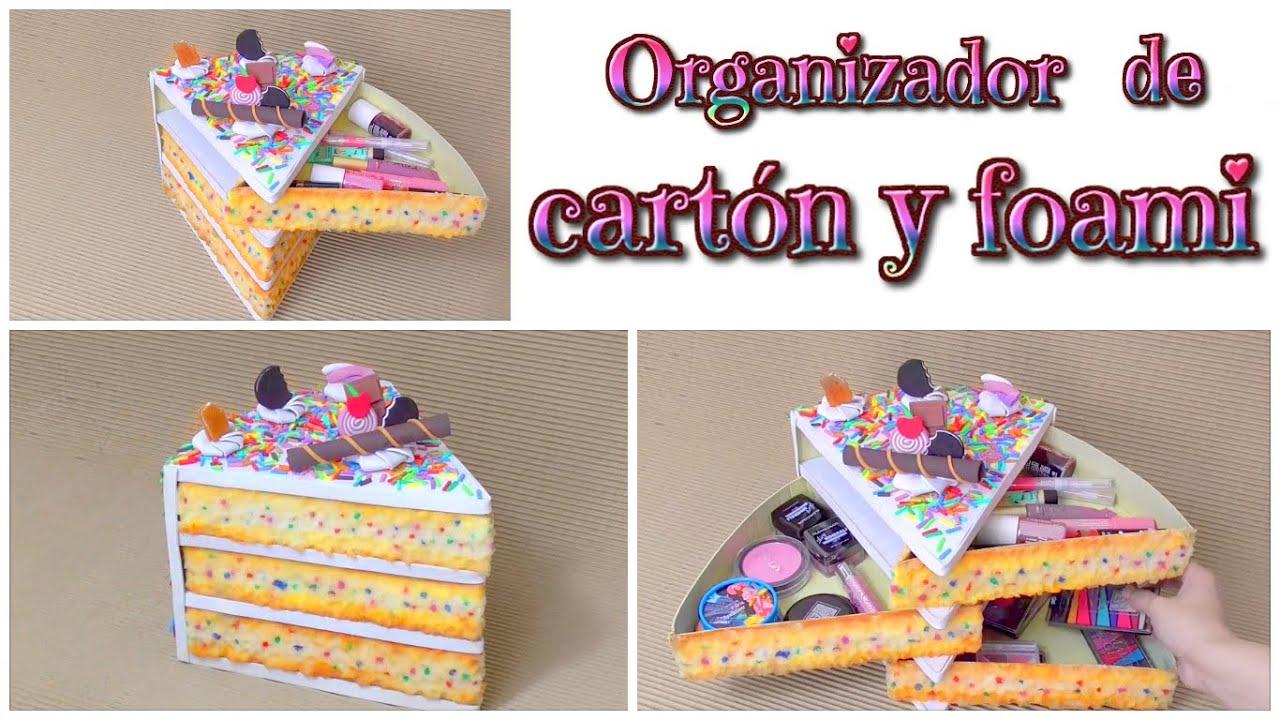 Diy organizador kawaii de cart n en forma de tarta o - Manualidades en carton ...