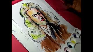 How to Draw Isaac Newton Color Drawing for Kids