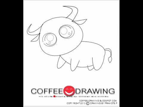 how to draw buffalo สอนเด็กวาดรูปการ์ตูน  ควายน้อยน่ารัก [by coffee-drawing]