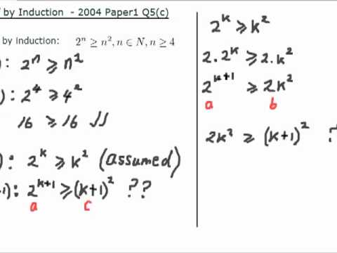 LC Maths (Hons) - Proof by Induction: Inequalities 2004 P1 Q5(c ...