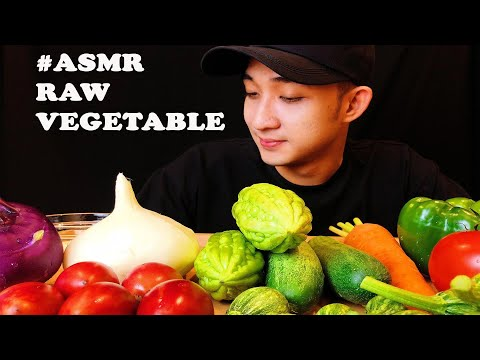 ASMR HEALTHY EATING | RAW VEGETABLE (Tamarillo, Round baby Courgettes, Cucumber, Purple Kohlrabi,.)
