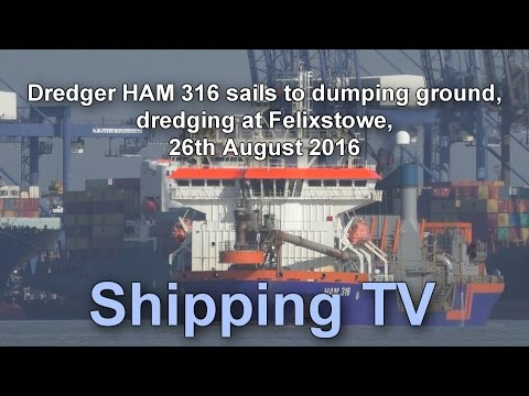 Dredger HAM 316 sailing from Felixstowe, 26 August 2016