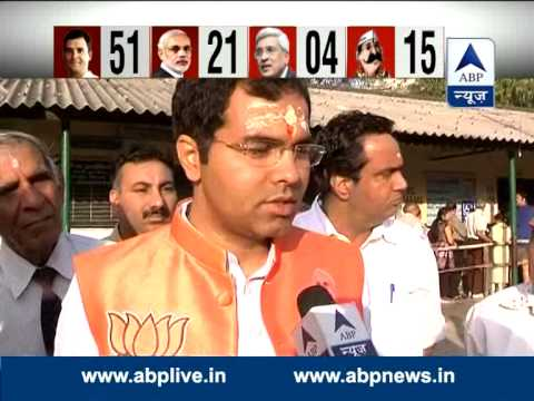 BJP candidate from West Delhi Loksabha Constituency Parvesh Verma casts his vote