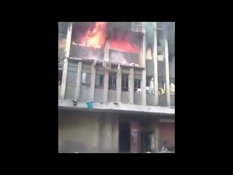 Hijacked building on fire 🔥 on jeppe str, JOHANNESBURG.,South Africa