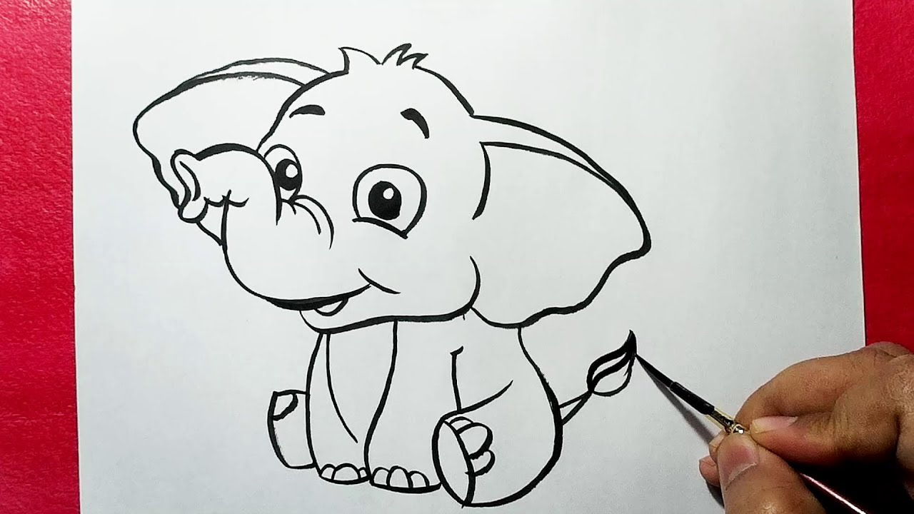 how to draw a cute elephant easy elephant drawing yzarts youtube. Black Bedroom Furniture Sets. Home Design Ideas
