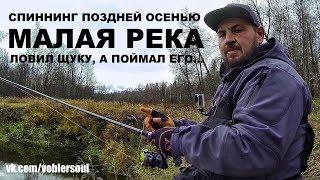 Ловля щуки. Спиннинг поздней осенью. Джиг на малой реке. Рыбалка 2017.