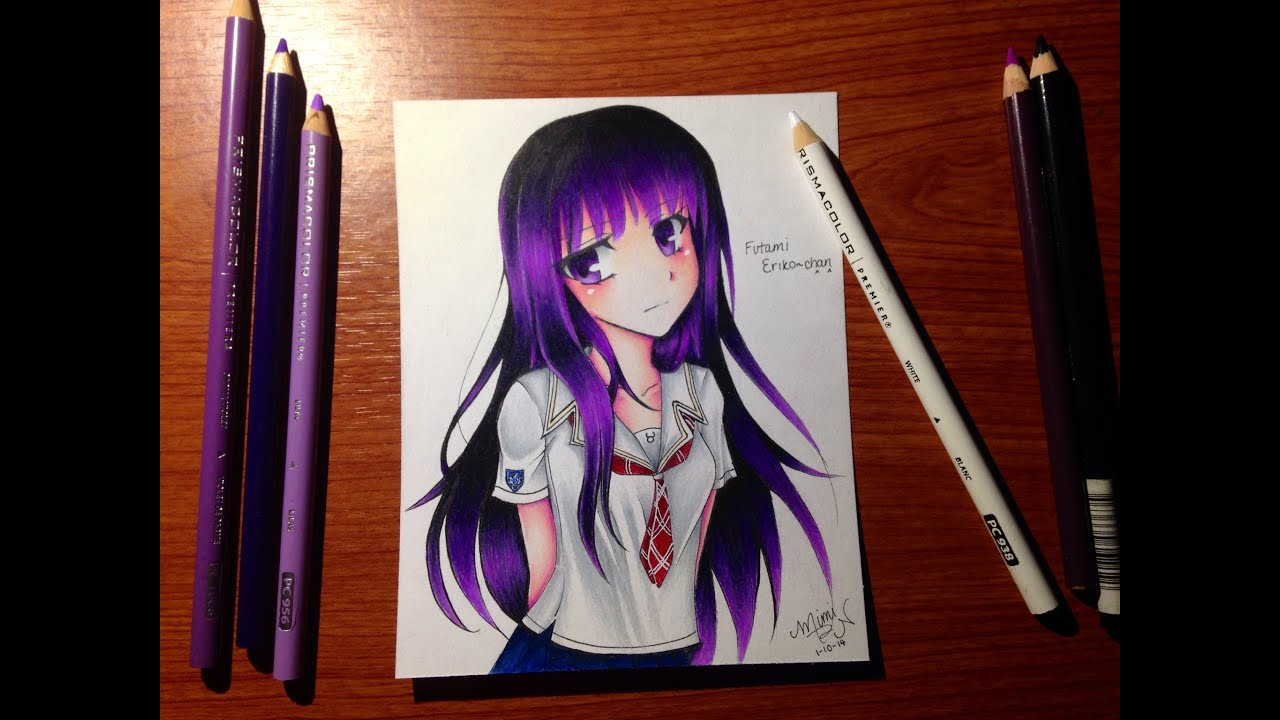 Colored Pencil Drawing Futami Eriko From Kimikiss Pure Rouge Youtube