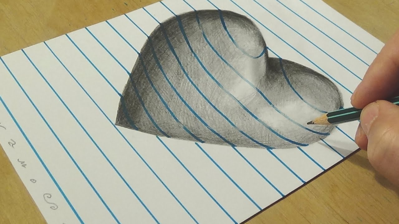D Lined Paper Drawings : Convex or concave heart drawing optical illusion