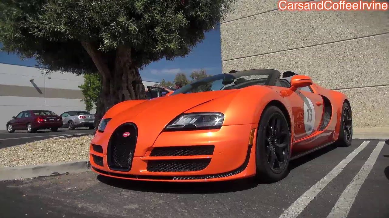 Orange Bugatti Veyron GS VITESSE ON THE ROAD  Monterey
