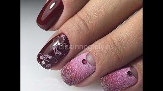 Красивый маникюр на короткие ногти  с блестками