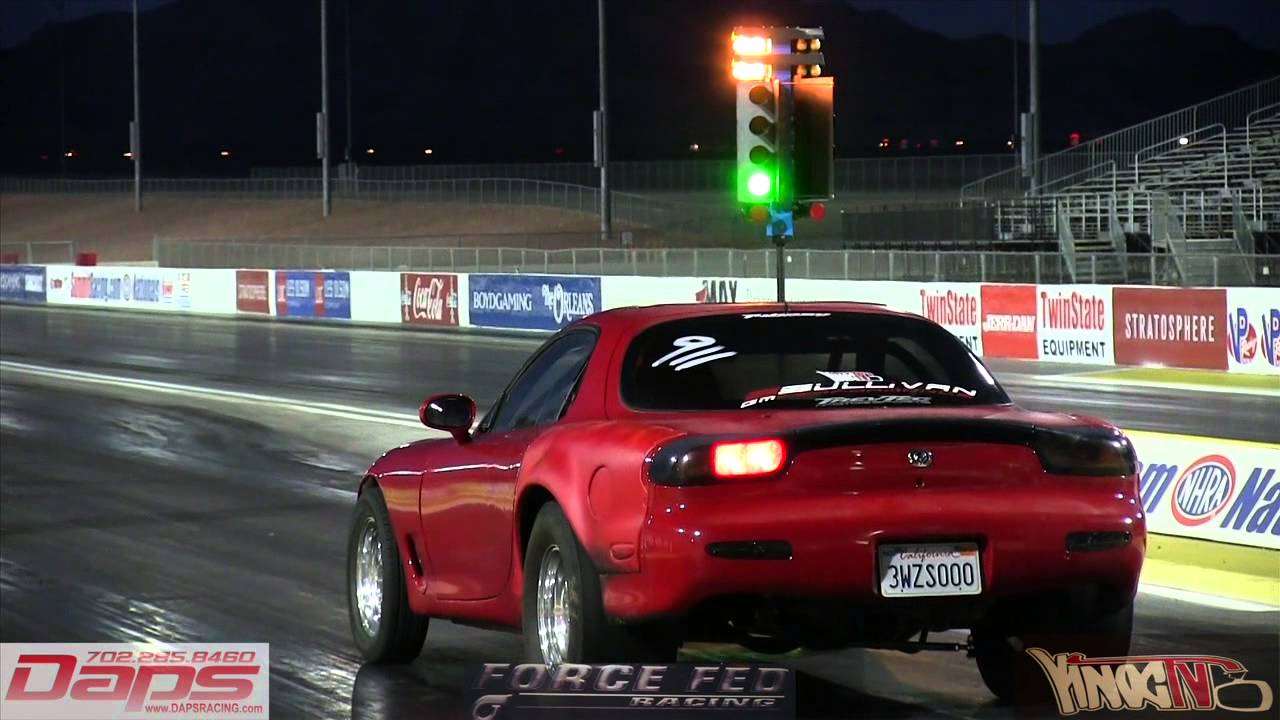 How To Tune A Car >> Turbo rx7 loses control drag racing - YouTube