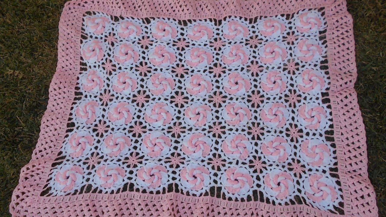 Manta /cobijita /colcha / frazada para bebe en crochet fácil y ...