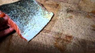 Seasoning Salmon With Lemon Pepper