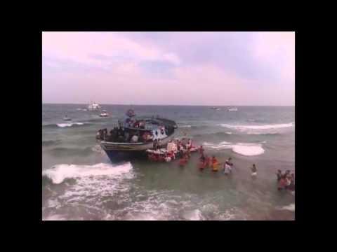 Immigrants on Morghella beach (Ionian sea)