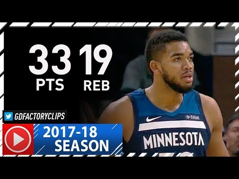 Karl-Anthony Towns Full Highlights vs Thunder (2017.10.27) - 33 Pts, 19 Reb, BEAST!