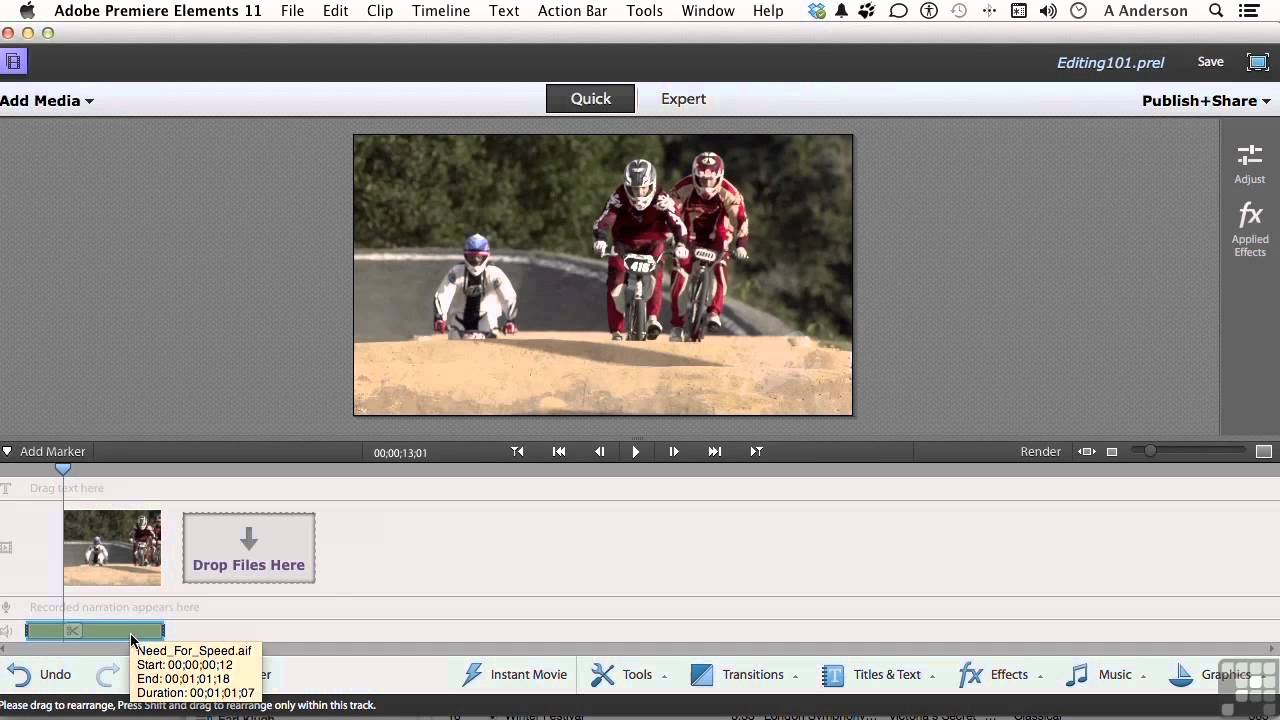 Adobe premiere elements 11 tutorial   adding audio effects youtube.