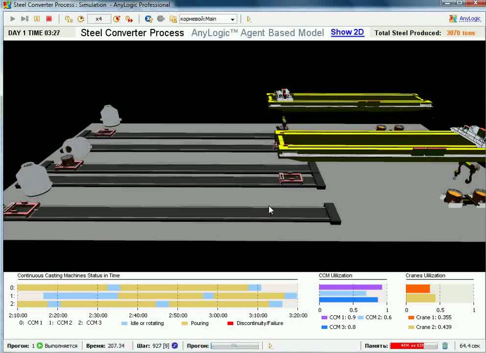 Simulation Software AnyLogic - Manufacturing 3D Simulation Model