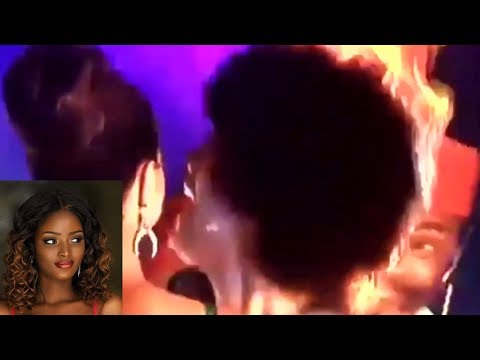 #Viral : Miss Africa 2018 hair catches fire moments after winning crown