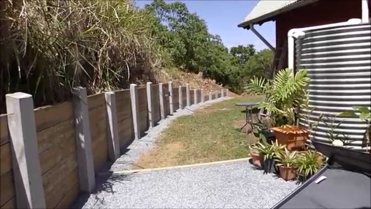 Sleeper retaining wall concrete posts diy project youtube for Diy reinforced concrete