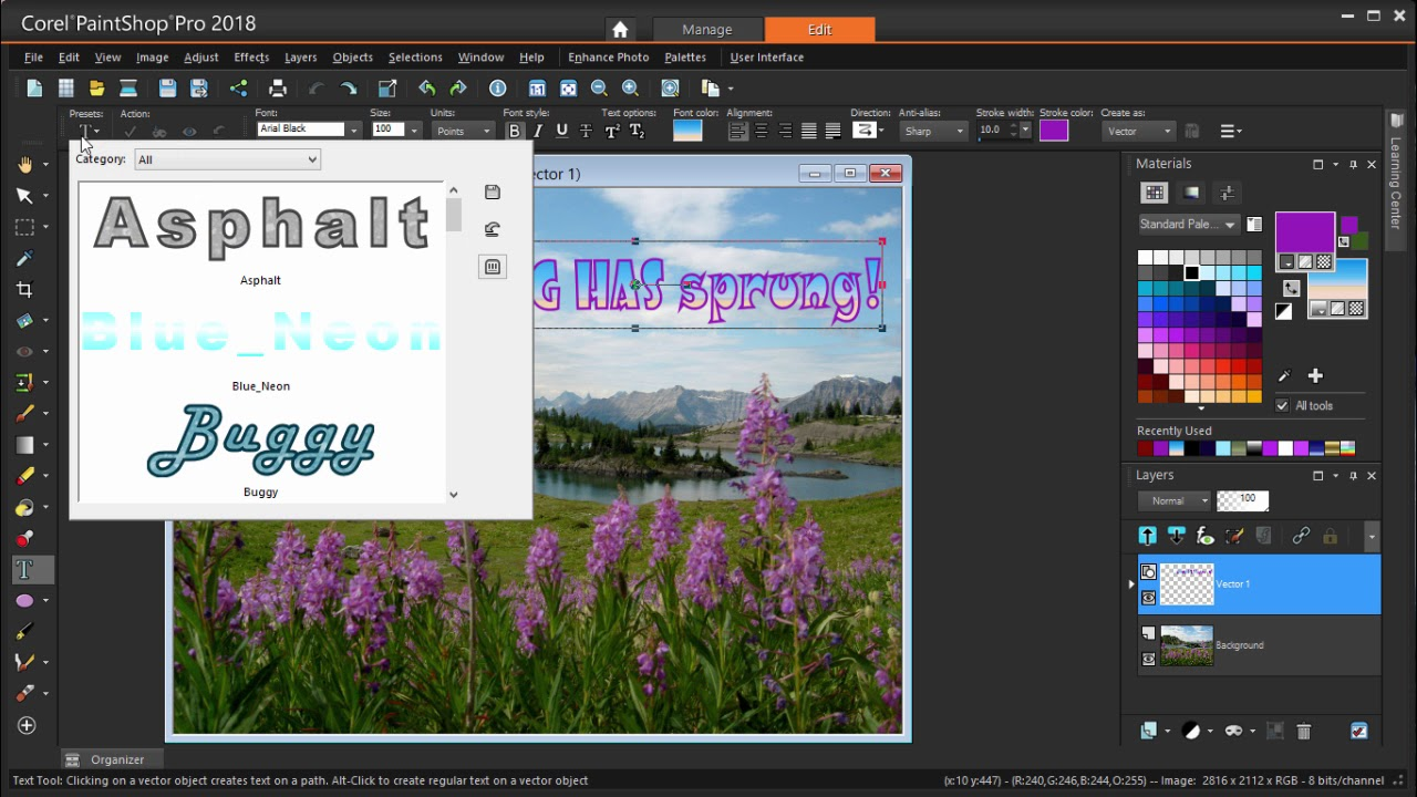 How To Add Text In Paintshop Pro Youtube