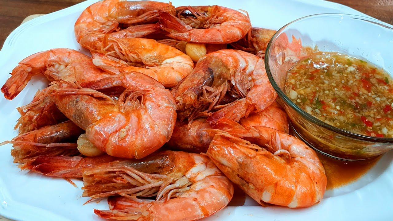กุ้งอบเกลือ ทำง่ายๆ ไม่ง้อหม้ออบ  Baked Salted shrimp