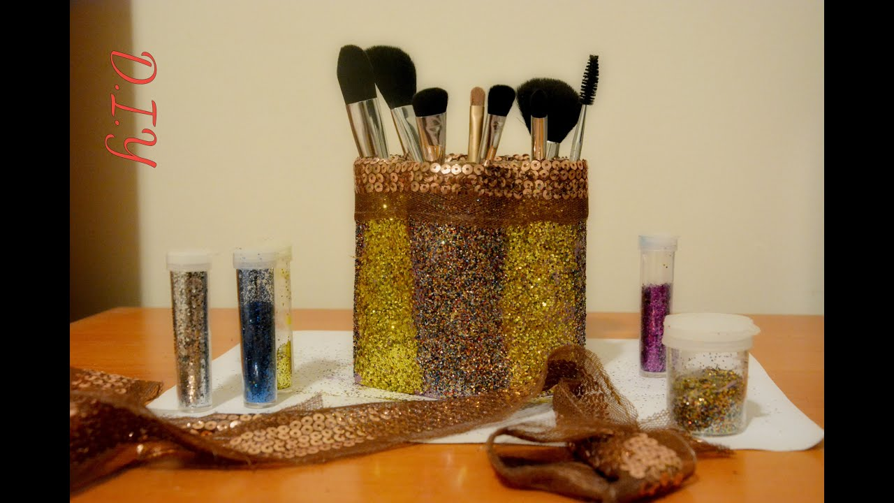 Best out of waste makeup brush holder easy cheap tissue for Useful best out of waste