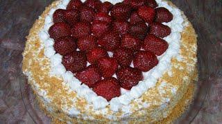 Фруктовый торт с клубникой / Очень вкусный, простой, желейный / Пошаговый рецепт
