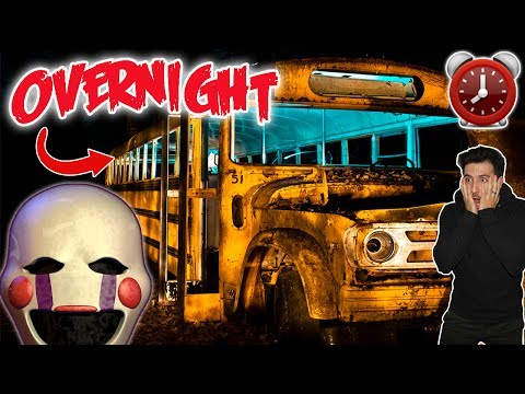 DONT SLEEP IN A SCHOOL BUS AT 3 AM  OVERNIGHT CHALLENGE IN SCHOOL BUS MARIONETTE APPEARS