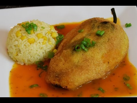 Mexican Food, Chiles Rellenos, Stuffed Poblano Peppers Recipe!