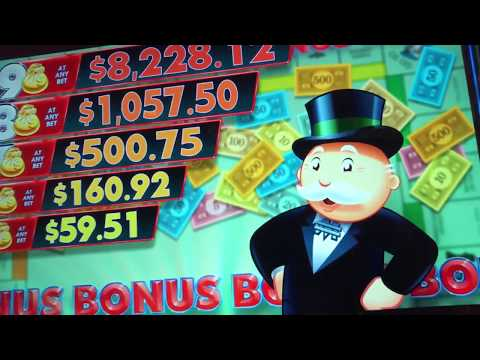 Lots Of Bonuses Playing MONOPOLY MONEY At The FLAMINGO In Las Vegas! HOTT Slot Machine