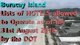 Boracay Island Lists of HOTELS allowed to Operate as of 31st August by the DOT