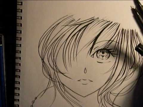 Drawing anime girl face inking