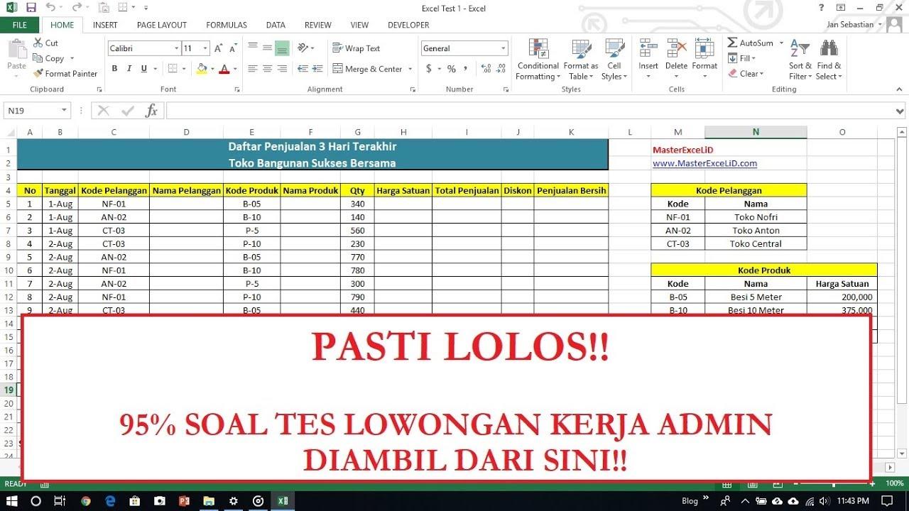Soal Tes Lowongan Kerja Admin 1 Tes Excel Free Download Soal Penjelasan Youtube