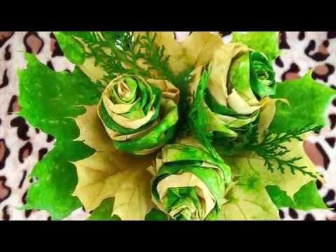 Розочки из листьев своими руками мастер класс