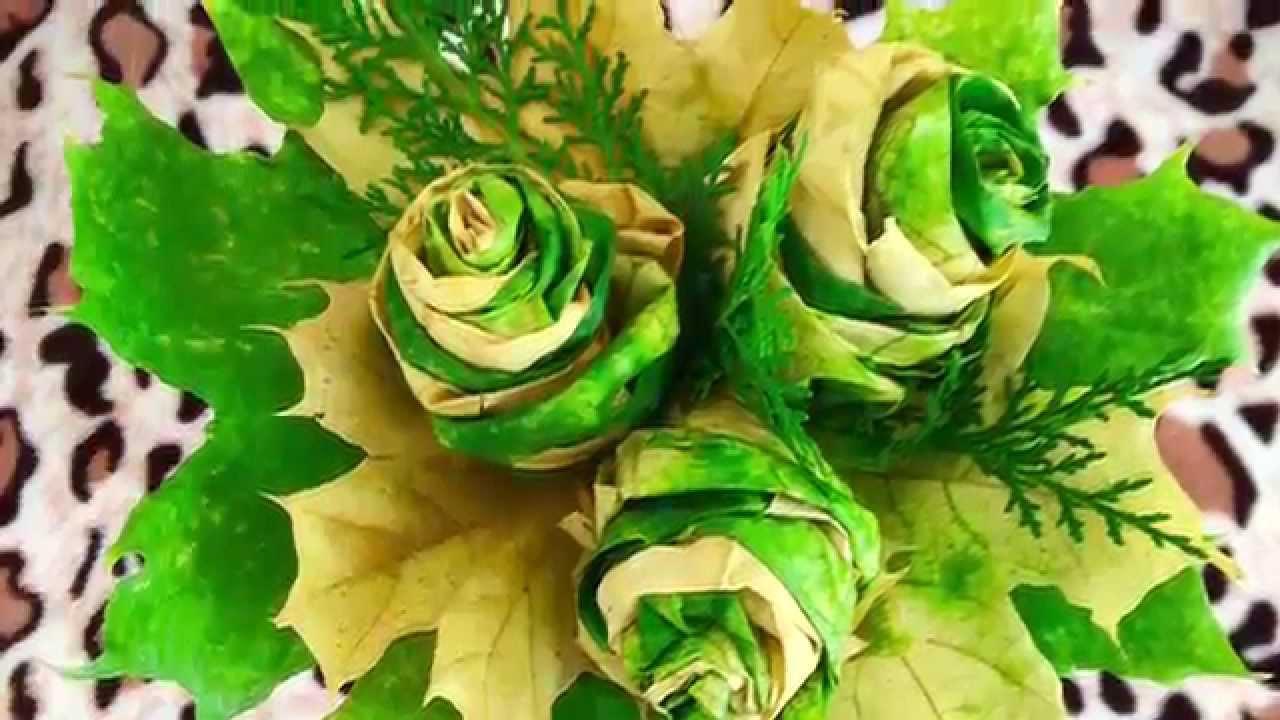 Как сделать из листьев розу