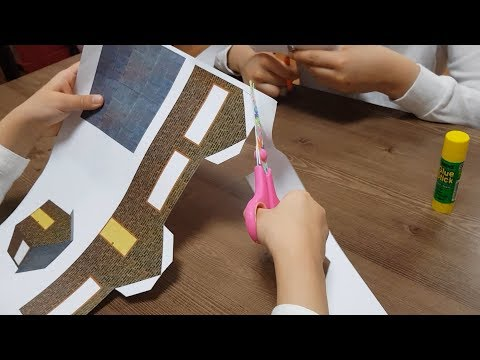 Make a mini village with paper (1. making mini paper house) 미니 종이마을 만들기  (1.미니 종이집 만들기)