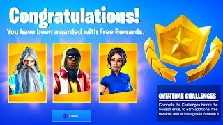 Fortnite OVERTIME CHALLENGES FREE REWARDS and ITEMS (Unlock Free Skin Stages Season 9 Fortnite)