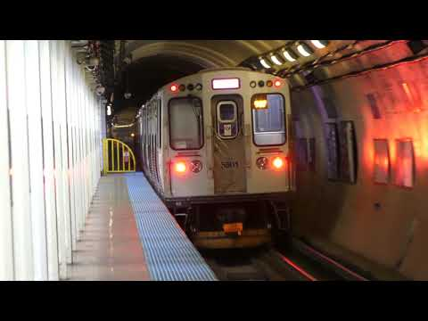 "CTA Transit: 2014 Bombardier 5000 Series ""L"" Red Line at Harrison/State Station (Midnight) (4K)"